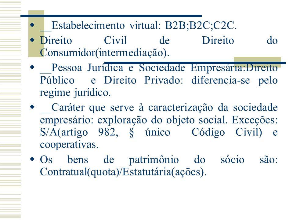 __Estabelecimento virtual: B2B;B2C;C2C.