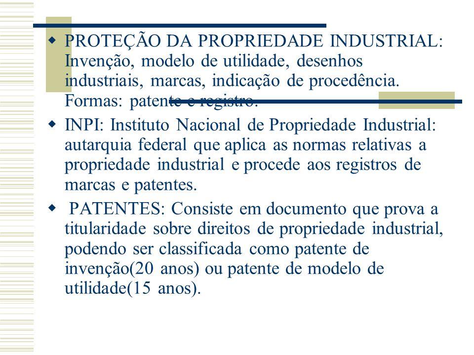 PROTEÇÃO DA PROPRIEDADE INDUSTRIAL: Invenção, modelo de utilidade, desenhos industriais, marcas, indicação de procedência. Formas: patente e registro.