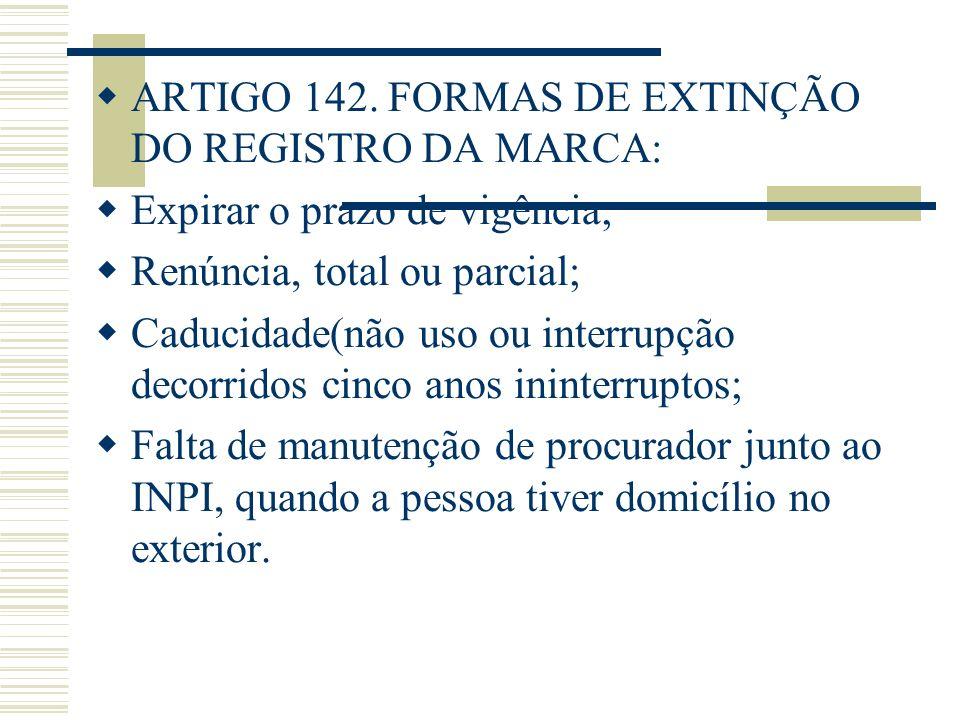 ARTIGO 142. FORMAS DE EXTINÇÃO DO REGISTRO DA MARCA: