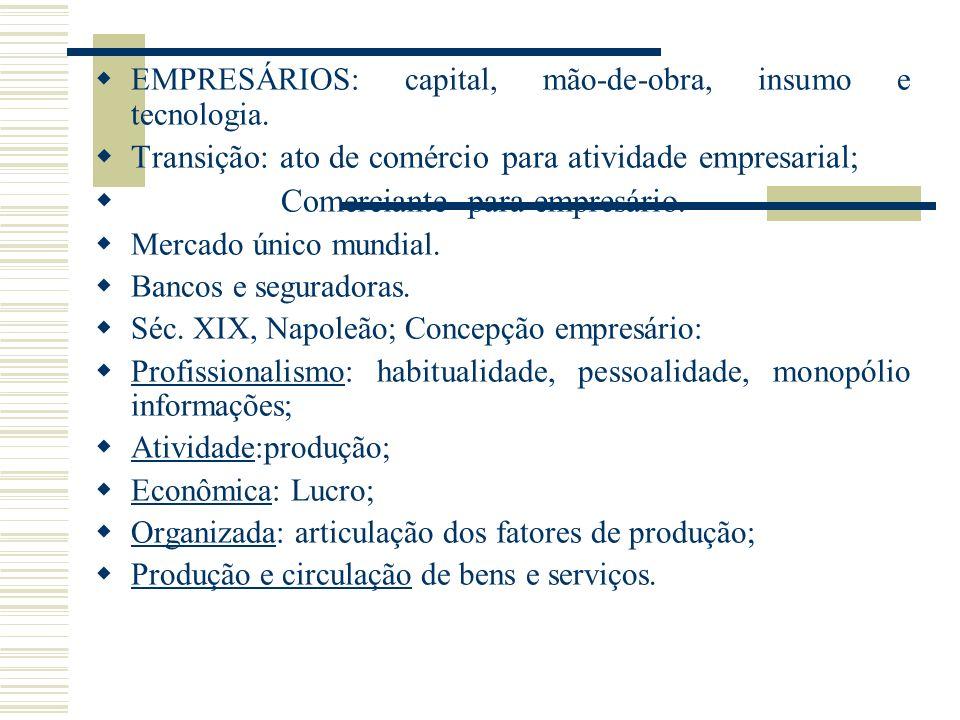 Transição: ato de comércio para atividade empresarial;