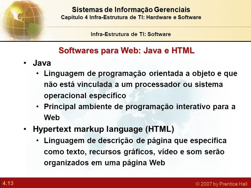 Infra-Estrutura de TI: Software Softwares para Web: Java e HTML
