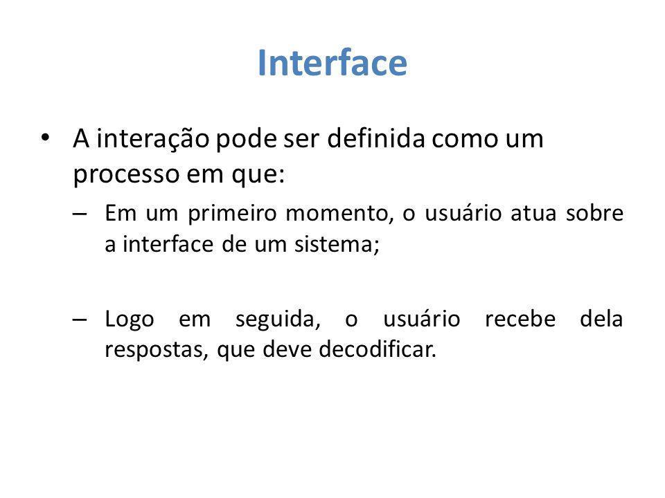 Interface A interação pode ser definida como um processo em que: