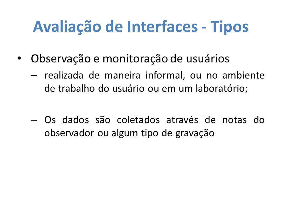 Avaliação de Interfaces - Tipos
