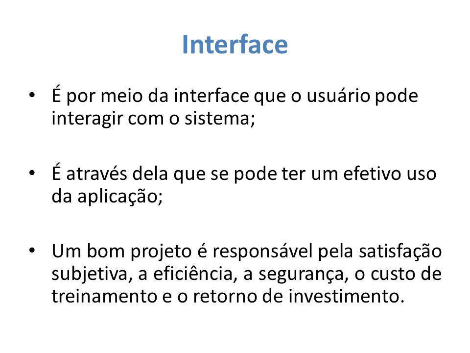 Interface É por meio da interface que o usuário pode interagir com o sistema; É através dela que se pode ter um efetivo uso da aplicação;