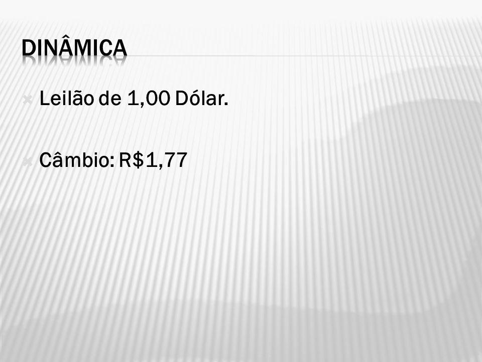 DINÂMICA Leilão de 1,00 Dólar. Câmbio: R$1,77