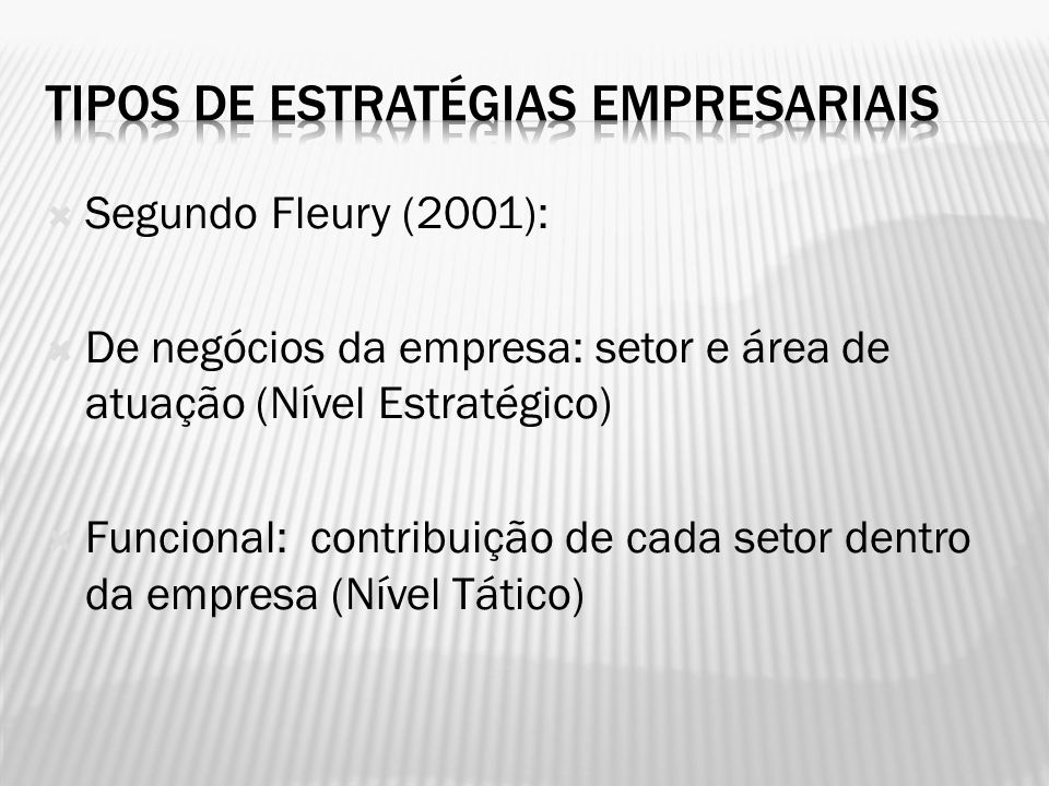 Tipos de Estratégias Empresariais