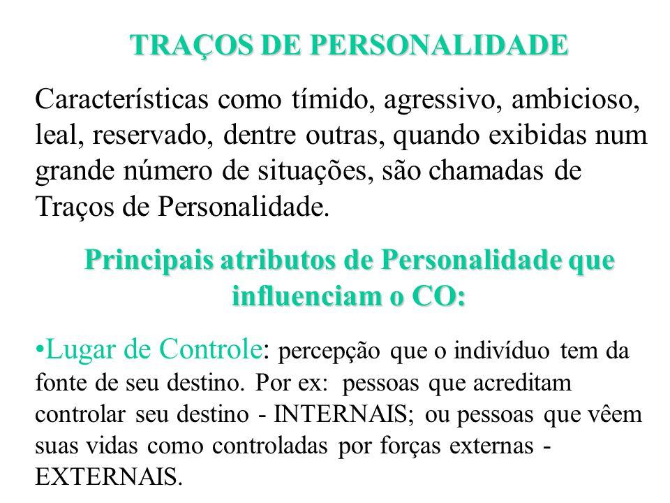 Principais atributos de Personalidade que influenciam o CO: