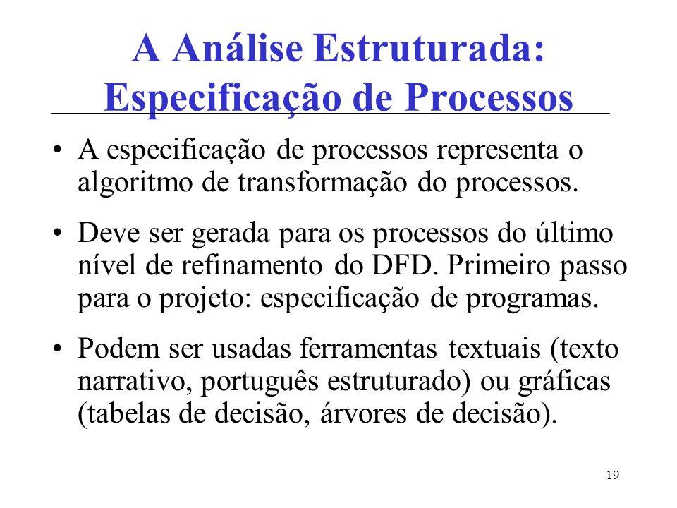 A Análise Estruturada: Especificação de Processos