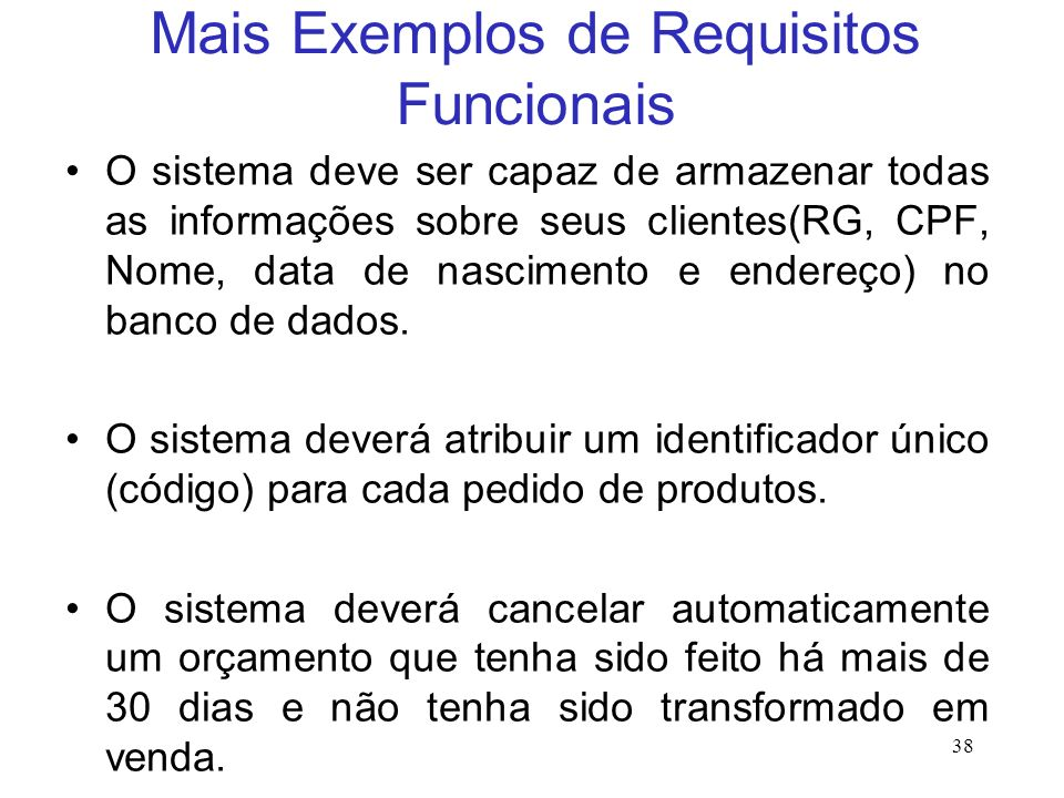 Mais Exemplos de Requisitos Funcionais