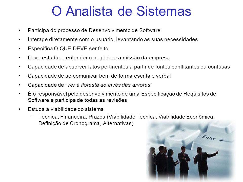 O Analista de Sistemas Participa do processo de Desenvolvimento de Software. Interage diretamente com o usuário, levantando as suas necessidades.