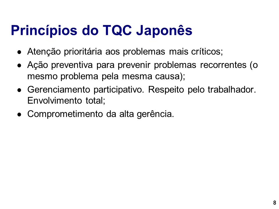 Princípios do TQC Japonês