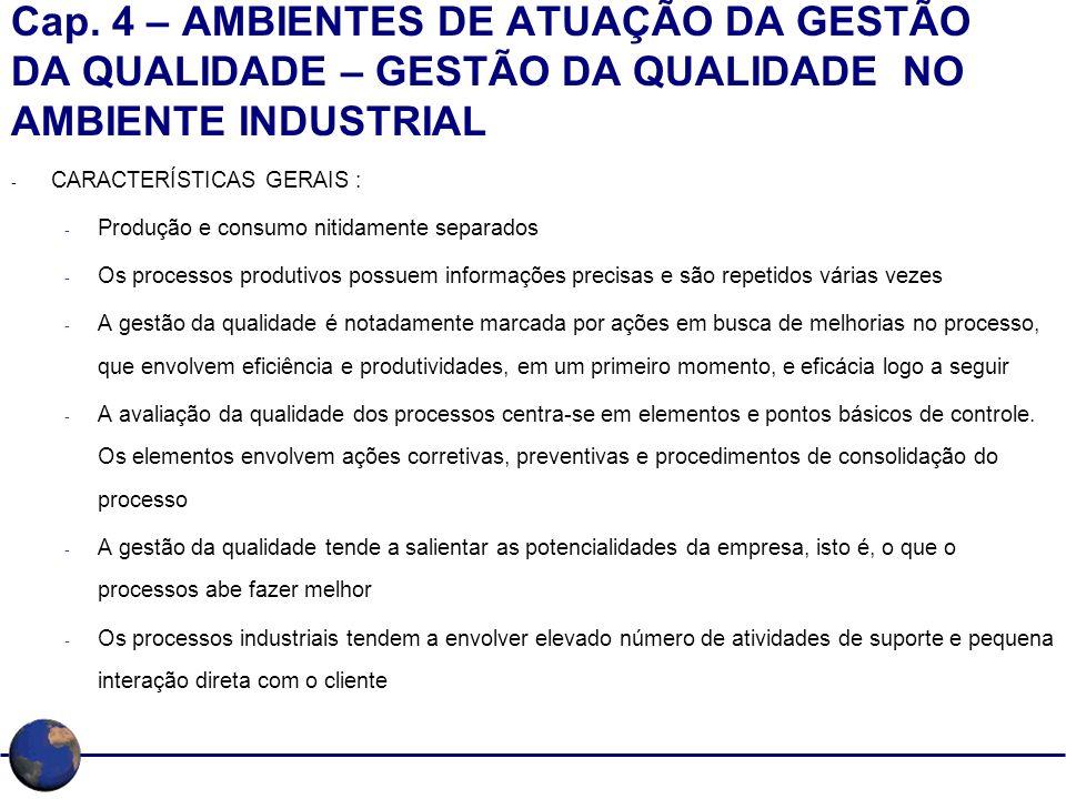 Cap. 4 – AMBIENTES DE ATUAÇÃO DA GESTÃO DA QUALIDADE – GESTÃO DA QUALIDADE NO AMBIENTE INDUSTRIAL