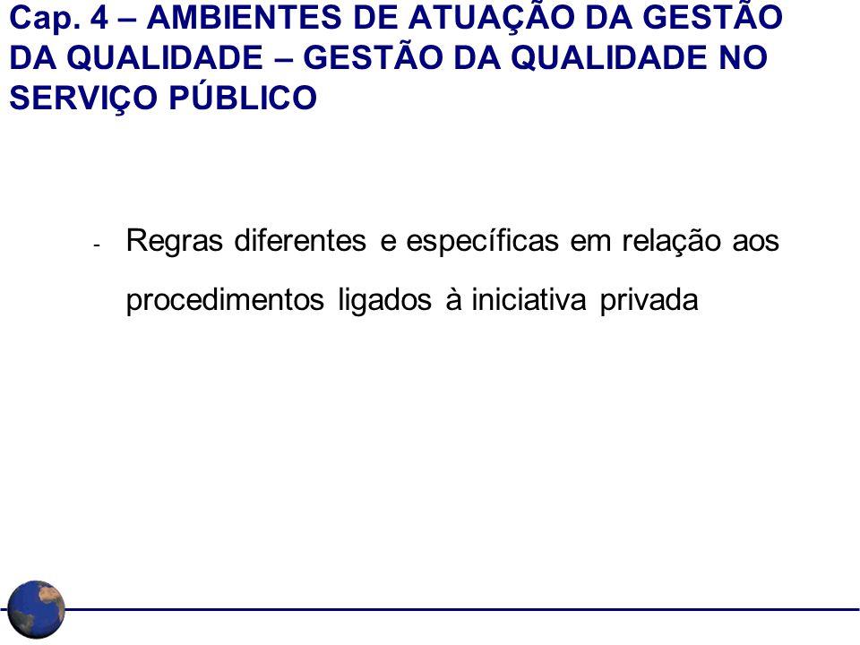 Cap. 4 – AMBIENTES DE ATUAÇÃO DA GESTÃO DA QUALIDADE – GESTÃO DA QUALIDADE NO SERVIÇO PÚBLICO
