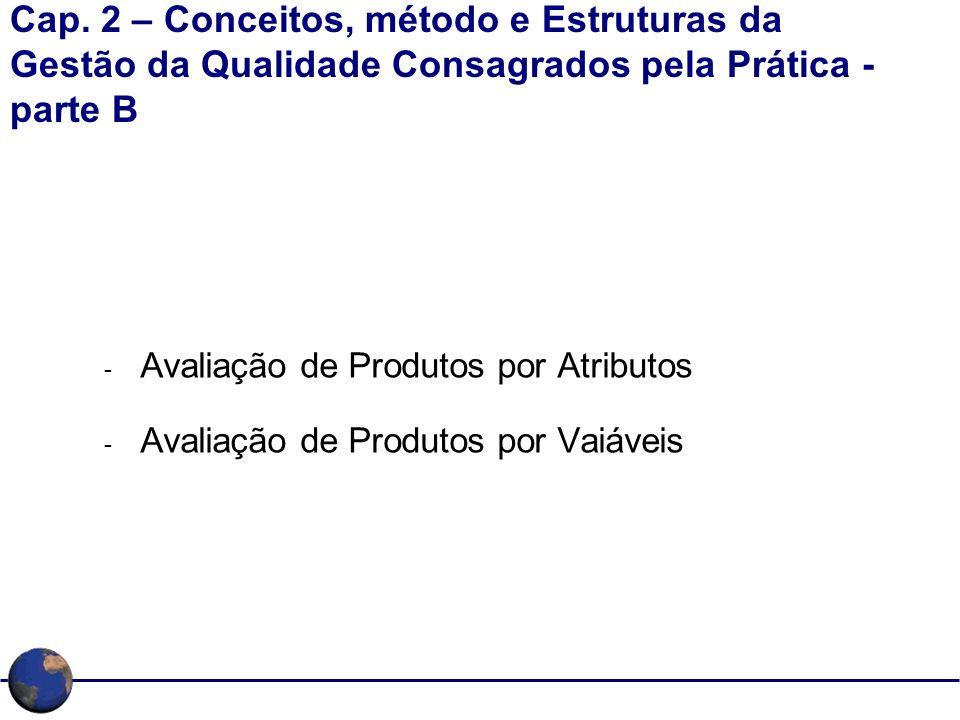 Cap. 2 – Conceitos, método e Estruturas da Gestão da Qualidade Consagrados pela Prática - parte B