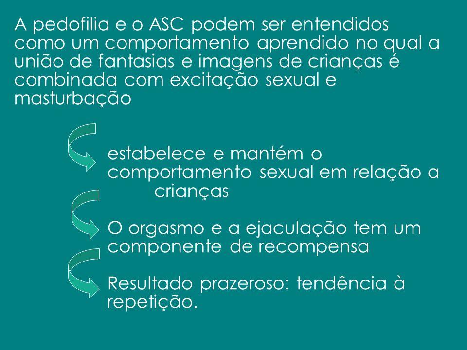 A pedofilia e o ASC podem ser entendidos como um comportamento aprendido no qual a união de fantasias e imagens de crianças é combinada com excitação sexual e masturbação