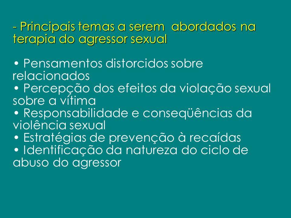 - Principais temas a serem abordados na terapia do agressor sexual