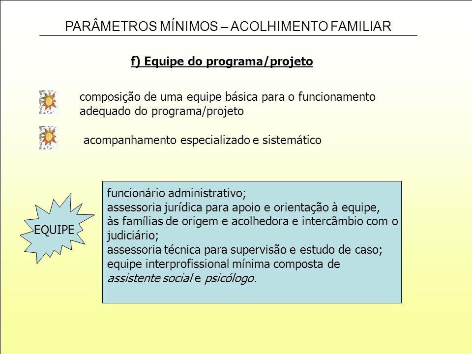 f) Equipe do programa/projeto
