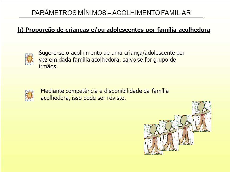 h) Proporção de crianças e/ou adolescentes por família acolhedora