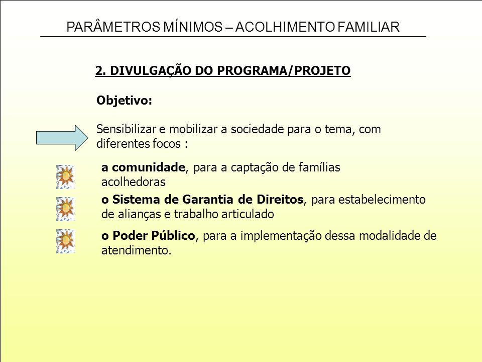 2. DIVULGAÇÃO DO PROGRAMA/PROJETO