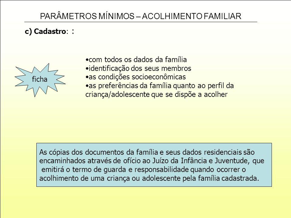 c) Cadastro: : com todos os dados da família. identificação dos seus membros. as condições socioeconômicas.