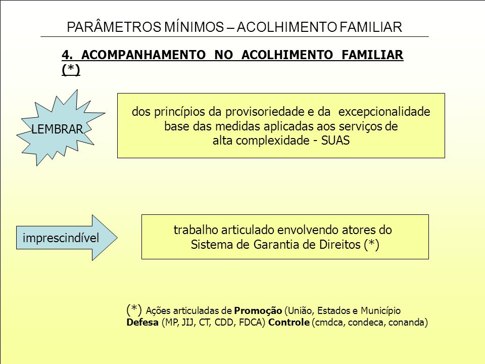 4. ACOMPANHAMENTO NO ACOLHIMENTO FAMILIAR (*)