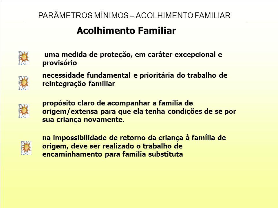 Acolhimento Familiaruma medida de proteção, em caráter excepcional e provisório. necessidade fundamental e prioritária do trabalho de.