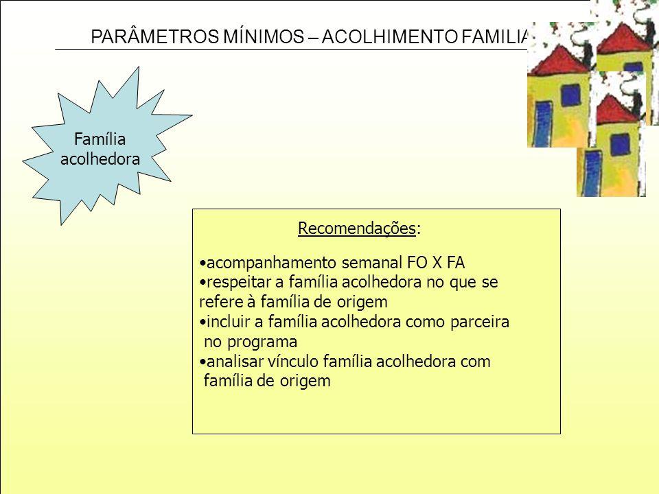 Família acolhedora. acompanhamento semanal FO X FA. respeitar a família acolhedora no que se. refere à família de origem.