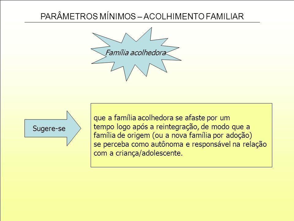 Família acolhedoraque a família acolhedora se afaste por um. tempo logo após a reintegração, de modo que a.