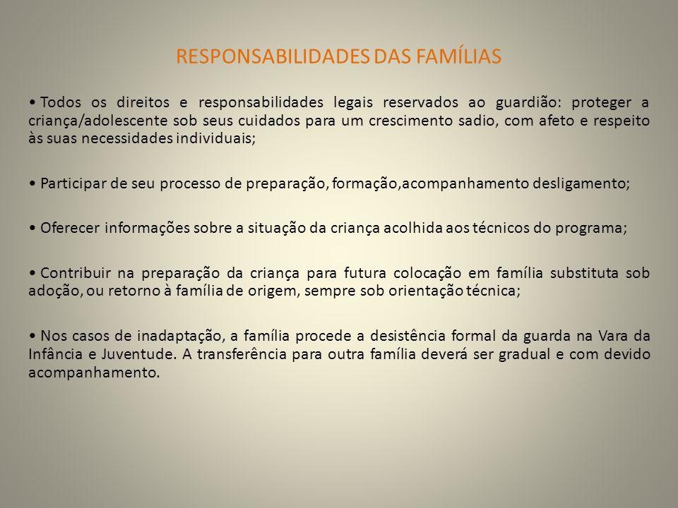 RESPONSABILIDADES DAS FAMÍLIAS