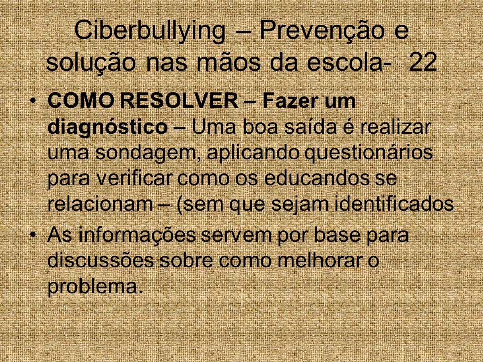 Ciberbullying – Prevenção e solução nas mãos da escola- 22