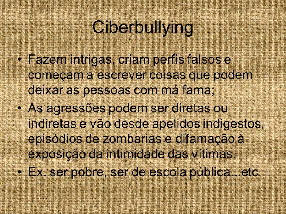 Ciberbullying Fazem intrigas, criam perfis falsos e começam a escrever coisas que podem deixar as pessoas com má fama;