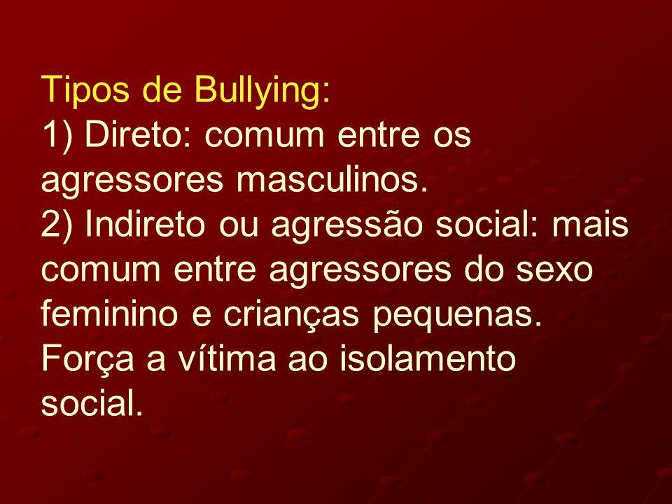 Tipos de Bullying: 1) Direto: comum entre os agressores masculinos