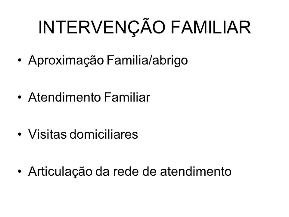 INTERVENÇÃO FAMILIAR Aproximação Familia/abrigo Atendimento Familiar