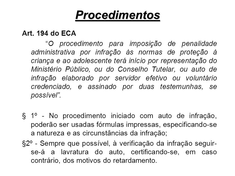 Procedimentos Art. 194 do ECA