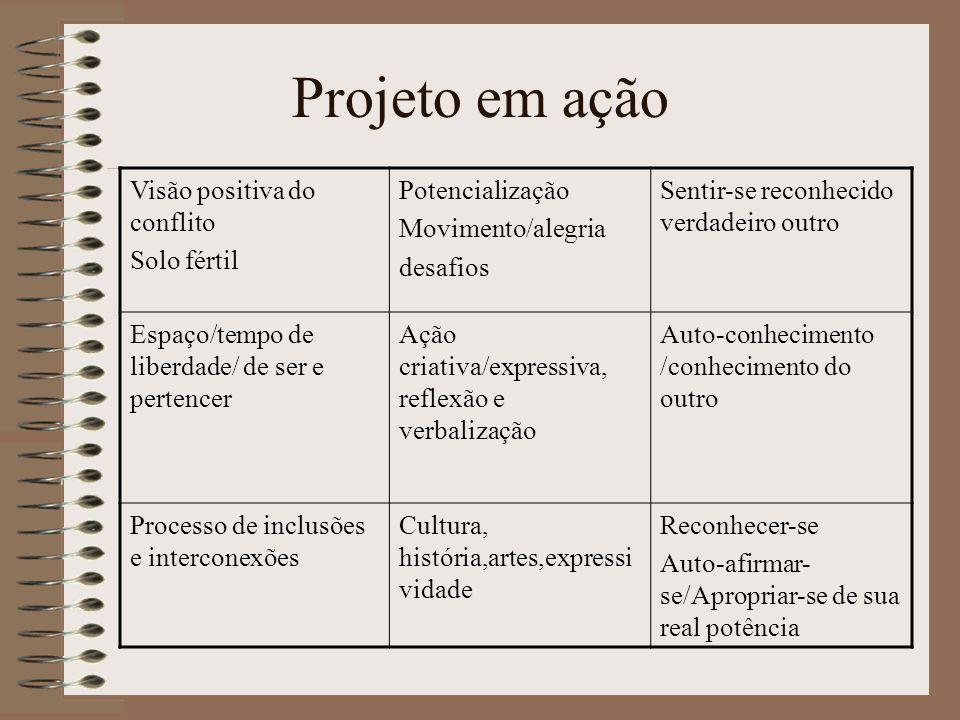 Projeto em ação Visão positiva do conflito Solo fértil Potencialização