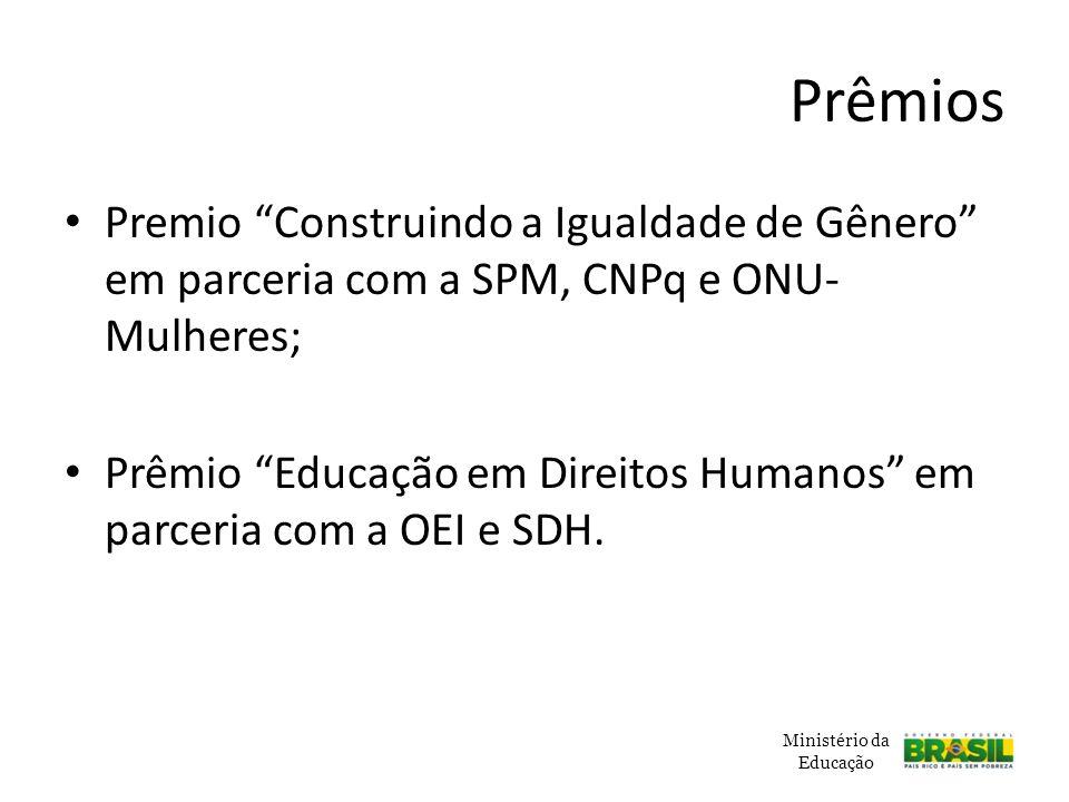 Prêmios Premio Construindo a Igualdade de Gênero em parceria com a SPM, CNPq e ONU-Mulheres;