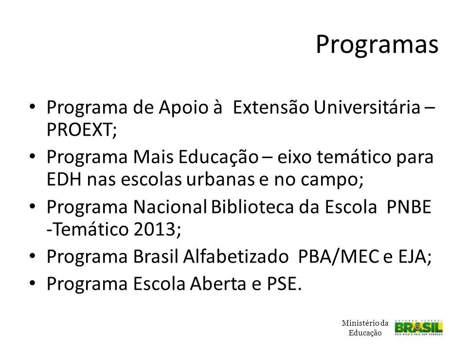 Programas Programa de Apoio à Extensão Universitária – PROEXT;