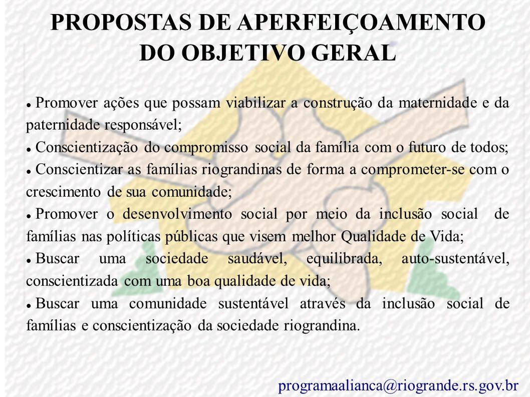 PROPOSTAS DE APERFEIÇOAMENTO