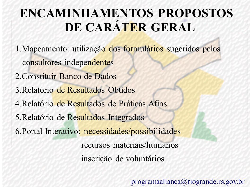 ENCAMINHAMENTOS PROPOSTOS DE CARÁTER GERAL