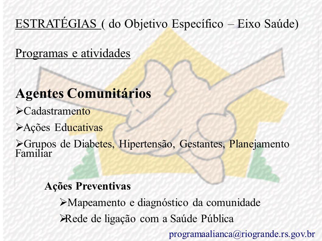 ESTRATÉGIAS ( do Objetivo Específico – Eixo Saúde)