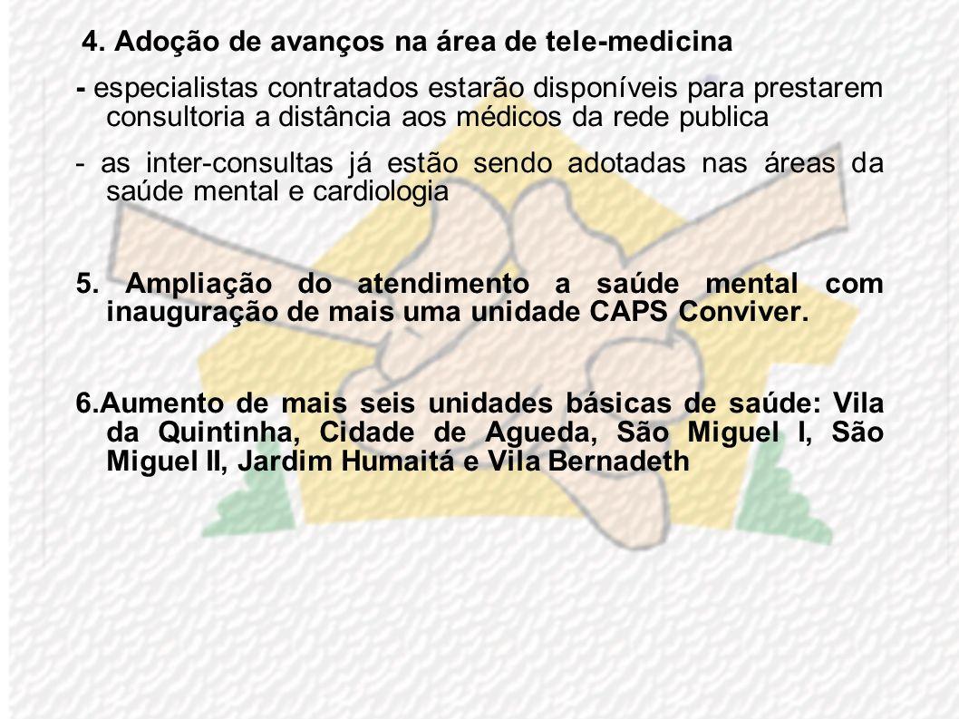 4. Adoção de avanços na área de tele-medicina