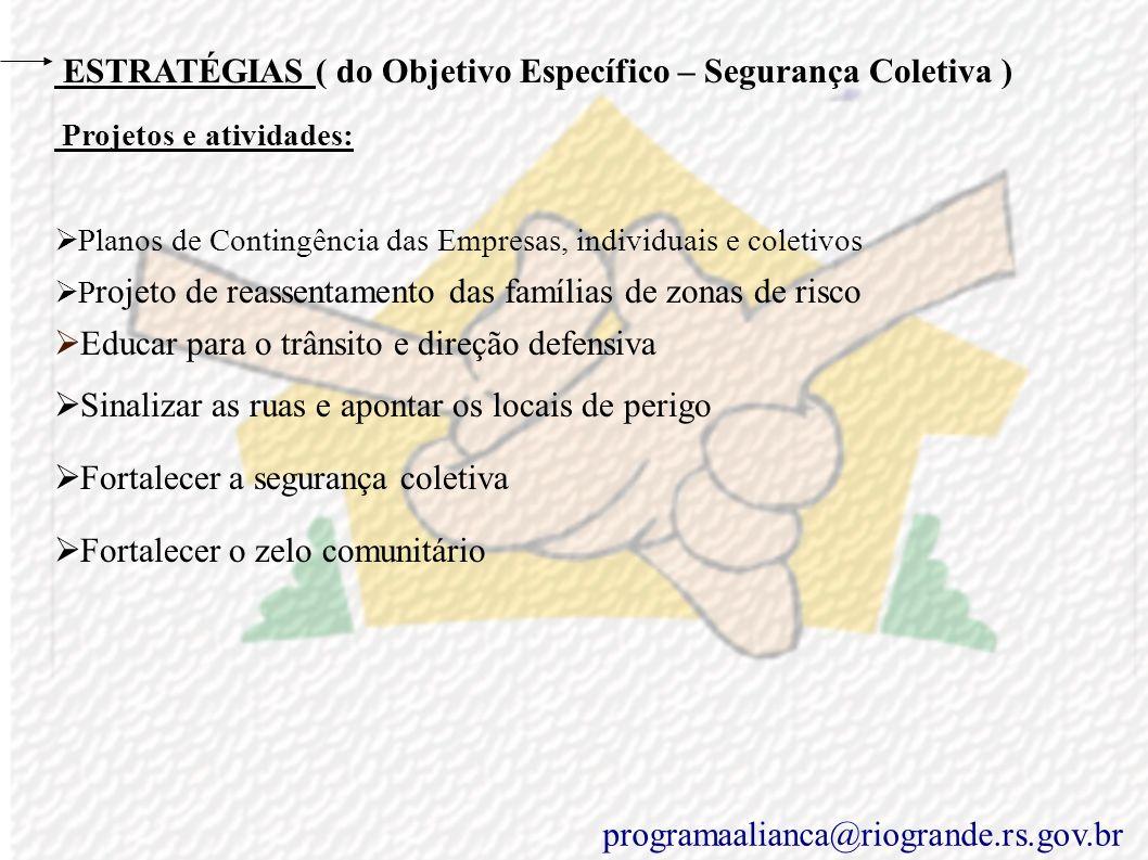 ESTRATÉGIAS ( do Objetivo Específico – Segurança Coletiva )