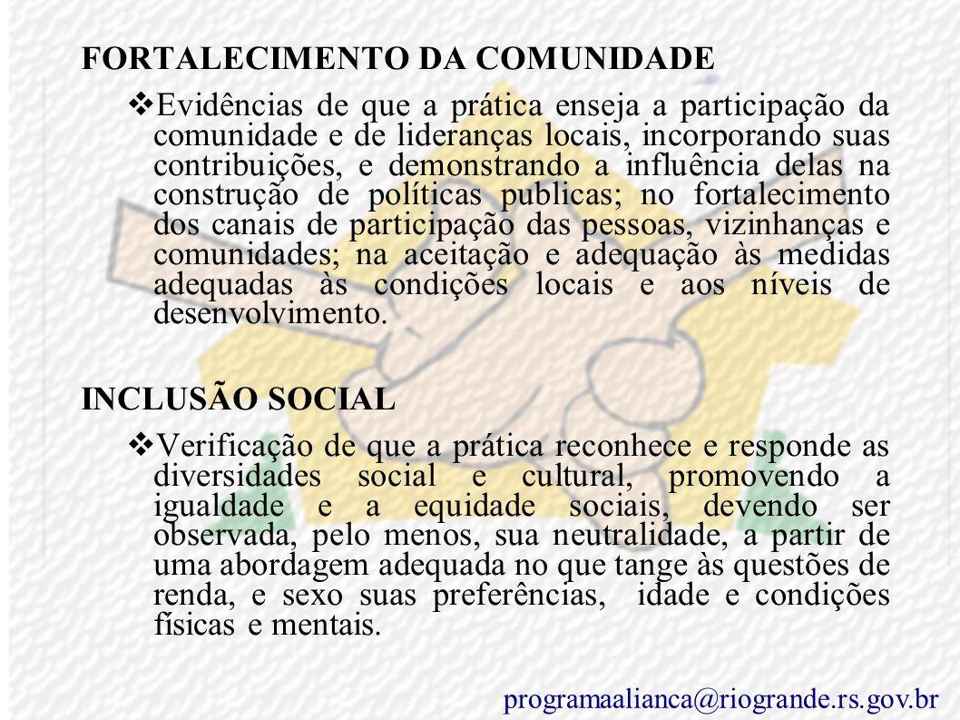FORTALECIMENTO DA COMUNIDADE