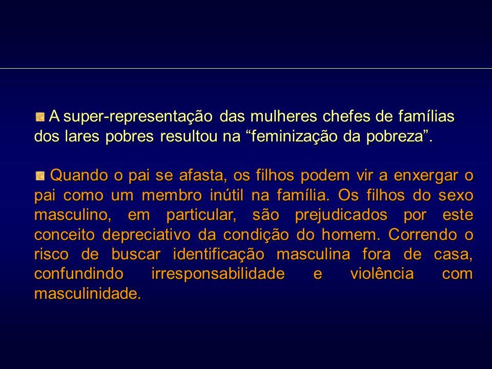 A super-representação das mulheres chefes de famílias dos lares pobres resultou na feminização da pobreza .