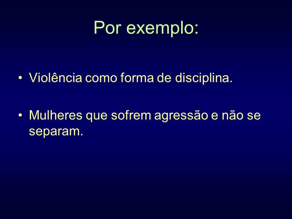 Por exemplo: Violência como forma de disciplina.