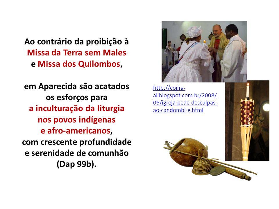 Ao contrário da proibição à Missa da Terra sem Males e Missa dos Quilombos, em Aparecida são acatados os esforços para a inculturação da liturgia nos povos indígenas e afro-americanos, com crescente profundidade e serenidade de comunhão (Dap 99b).