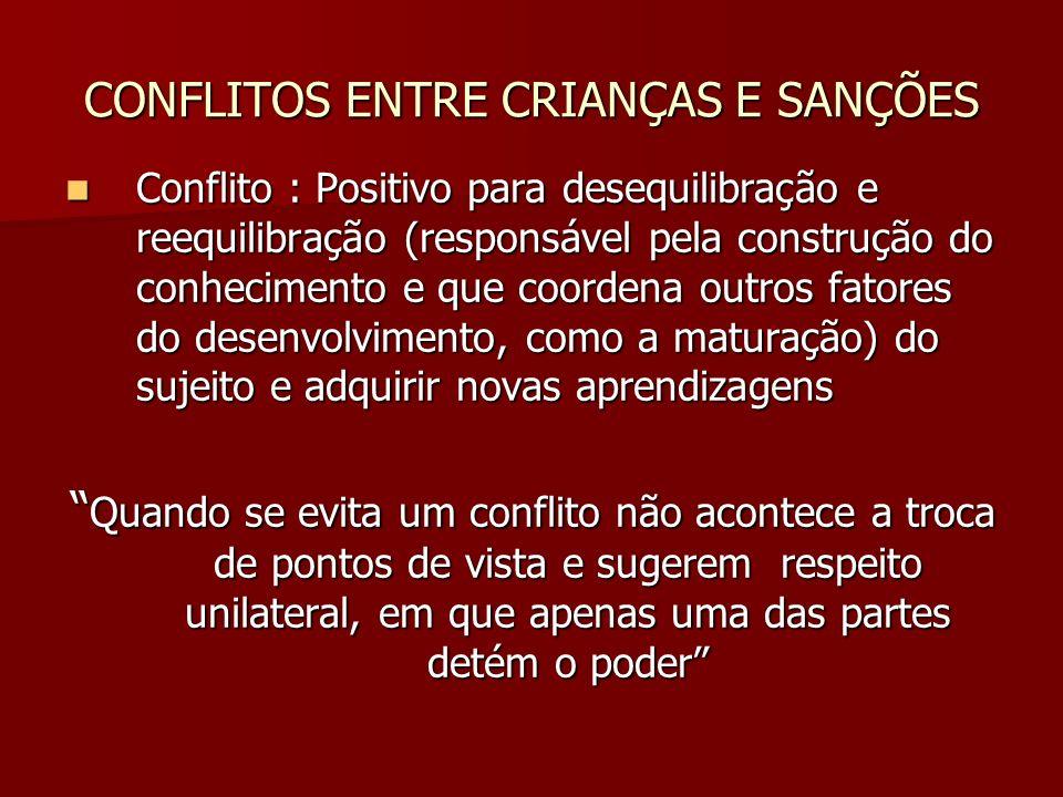CONFLITOS ENTRE CRIANÇAS E SANÇÕES
