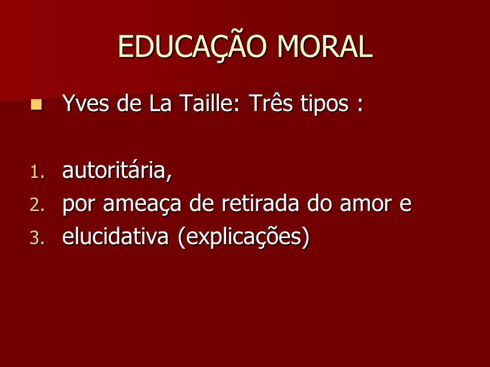 EDUCAÇÃO MORAL Yves de La Taille: Três tipos : autoritária,