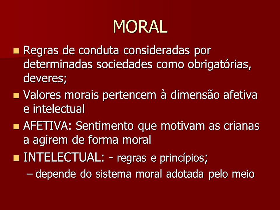 MORAL INTELECTUAL: - regras e princípios;
