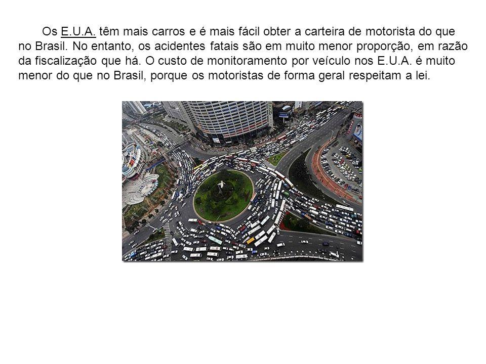 Os E.U.A. têm mais carros e é mais fácil obter a carteira de motorista do que no Brasil.